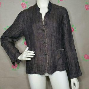 Eileen Fisher Irish Linen Brown Blazer Size Medium